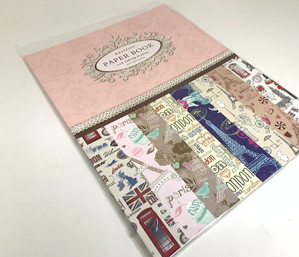 Printed Wrapping Paper Book ( 2 by 8 ,16 pcs )