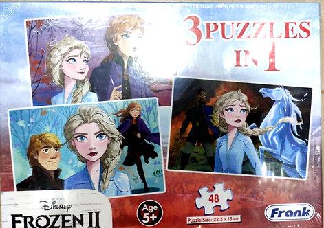DISENY FROZEN II 3 IN1 puzzles ( 48 pcs ) ( age 5+ )