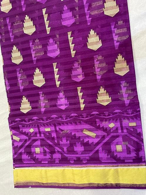 Pure cotton saree with golden print border & printed saree