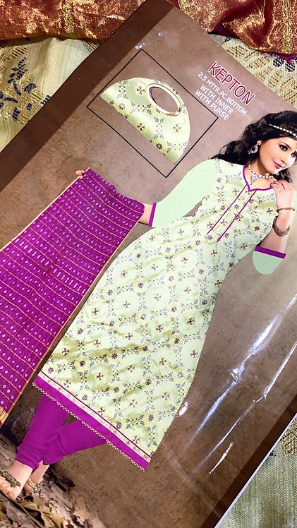 Exclusive dress material golden print bandhani style with exclusive purse