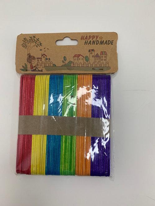 Colourful Wooden Icecream Sticks (broad)
