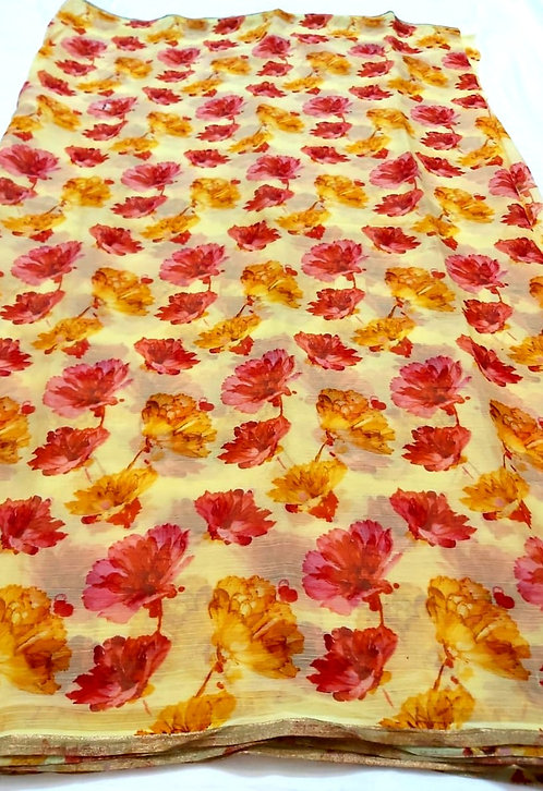 pure chiffon printed saree with golden border without blouse