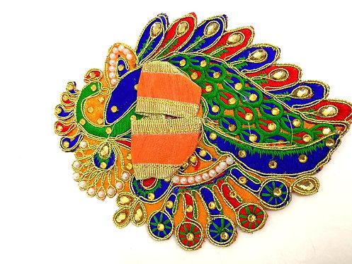 Multi colour peacock design krishna dress stone work laddu gopal poshak(orange)