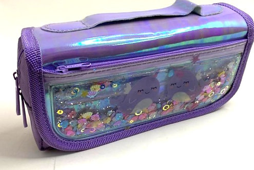 Liquid Filled Sequin Pouch  For Girls with lock ( purple colour )