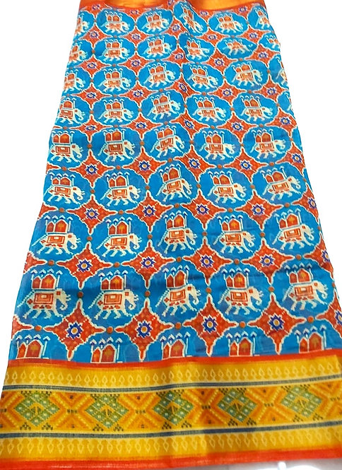 pure cotton  patola print saree with blouse with beautiful border