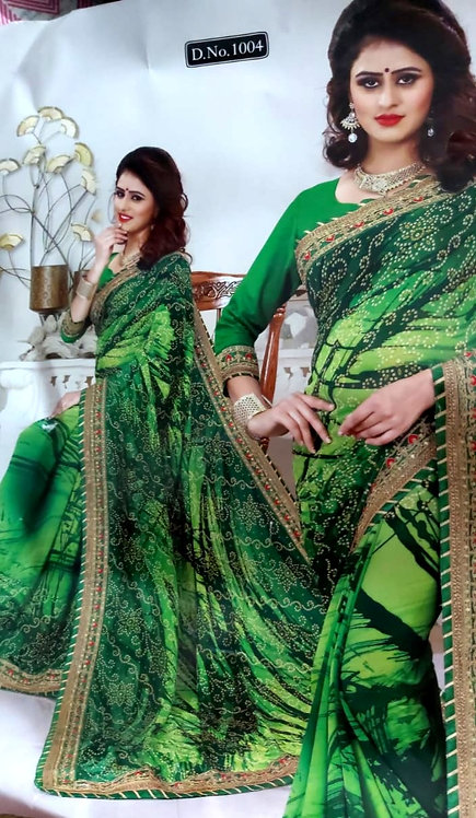 Georgette saree with gotta patti and zari work border with blouse pcs