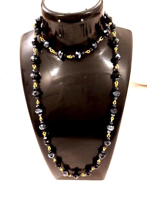 Long black pearl mala for women & girls