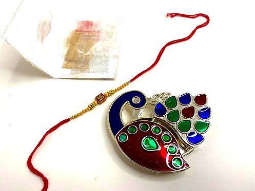 designer box with rakhi, kumkum, chawal