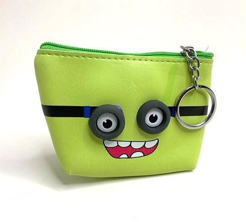 3D Eye Cartoon Wristlet/ Purse Pu Leather (small size )
