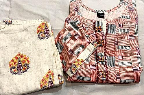 cotton plazzo set ( size L )