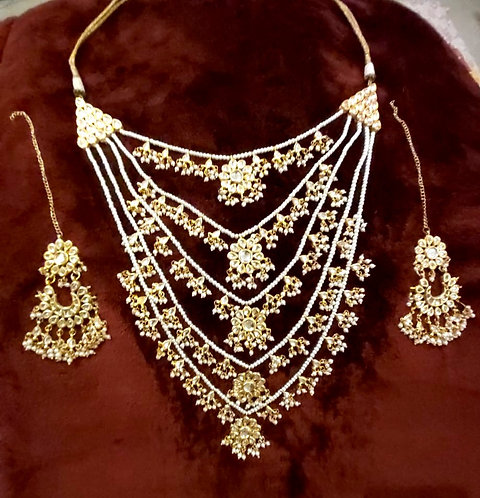 Heavy traditional jeweelery Floral 5 layeard necklaace  earring