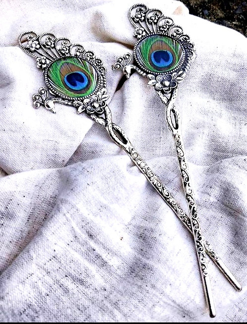 oxidized hair pin with peacock design ( one pcs )