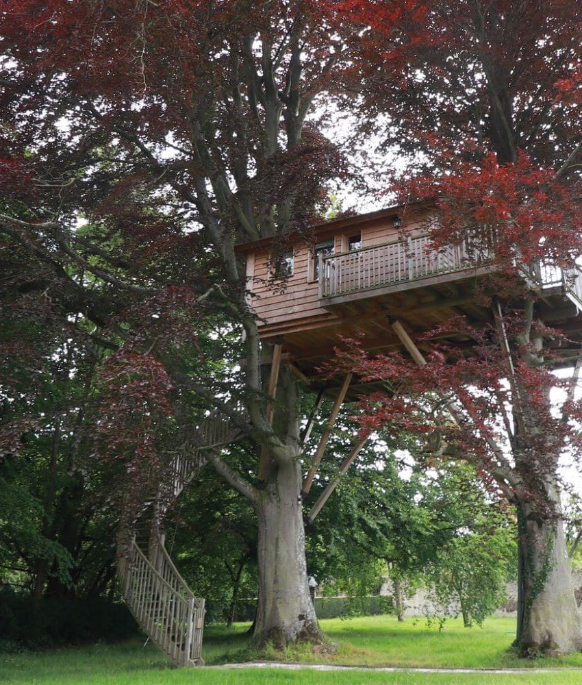 Tree house accommodation at the Chateau d'Audrieu hotel in France