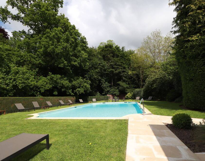 Swimming pool at the Chateau d'Audrieu in Normandie