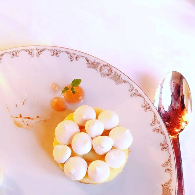 Dessert at Le Seran restaurant, Chateau d'Audrieu hotel