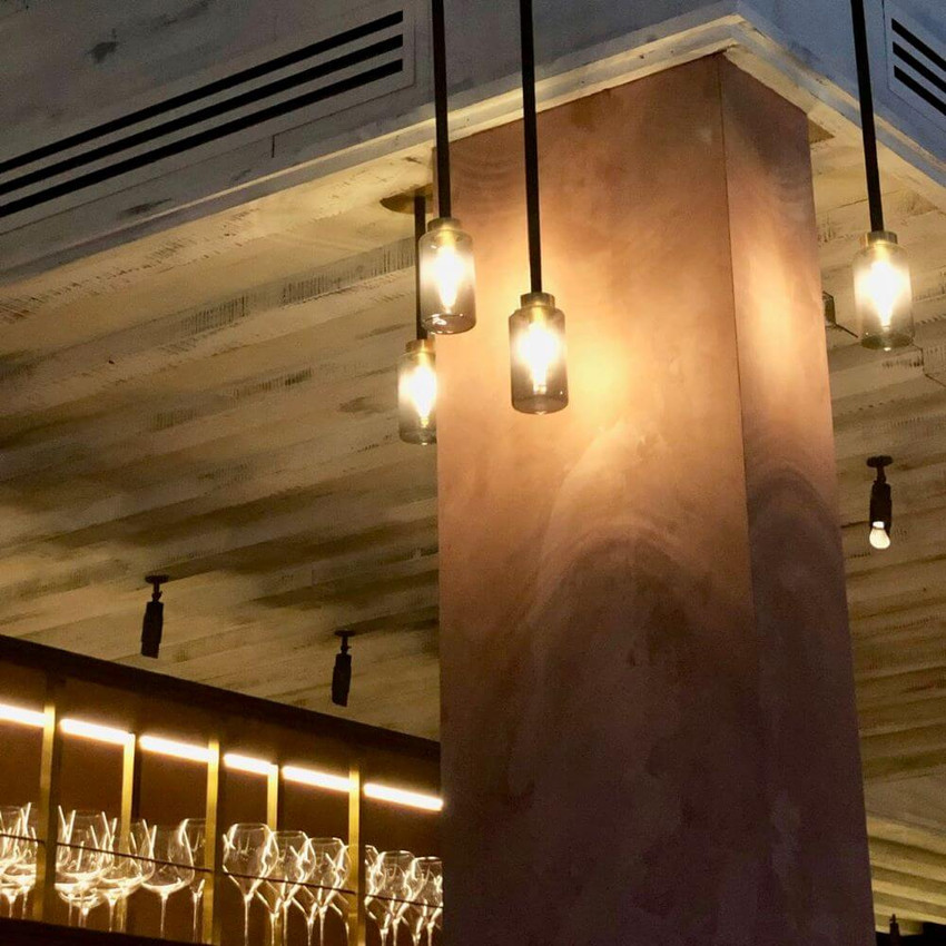 Warm lighting and ambience at Caractere restaurant in London