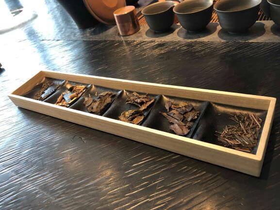 A green tea leaves selection at Sakurai