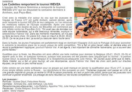 Article du 2018.08.24 EDF U17 F Tournoi