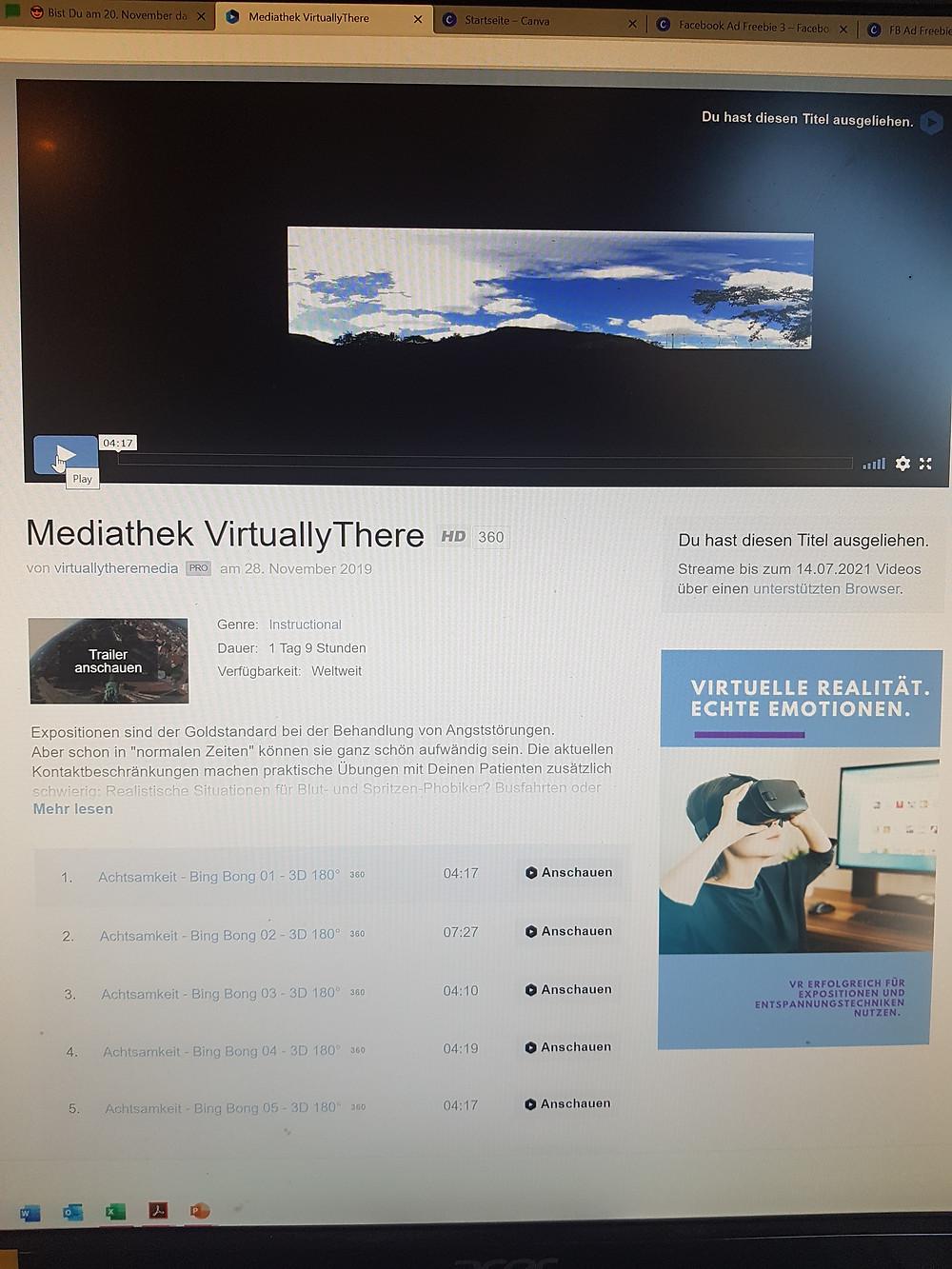 die VirtuallyThere-Mediathek heute: mit über 200 VR-Videos das größte VR-Angebot für Psychotherapeuten im deutschsprachigen Raum