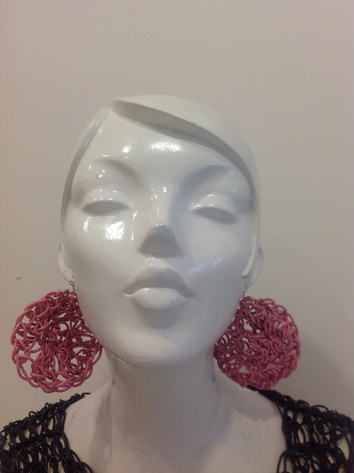 Large Round Leather Earrings Pink