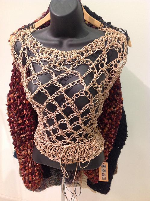 Crochet Leather Chain Halter Tan