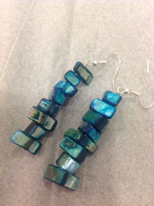 Blue Agate Small Straight Dangle Earrings
