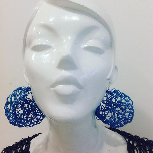 Large Round Leather Earrings Blue