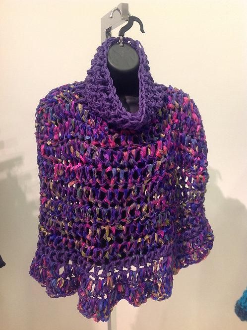 Purple Ribbon Ruffle Poncho