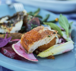 ROASTED BEET AND SMOKED TROUT SALAD