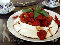 Basil Pavlova w/Strawberries in Balsmic Syrup