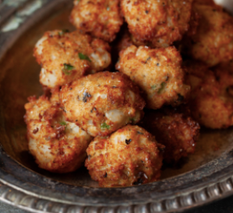 HOMINY FRITTERS WITH RUM MUSTARD