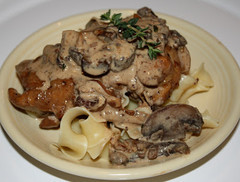 Chicken, Carmelized Onions and Wild Mushrooms Over Pappardelle Sauced with a Creamy Bacon-Thyme Bals
