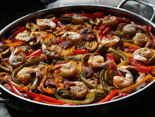 Traditional Paella with Shrimp, Chorizo and Spicy Gordal Olives