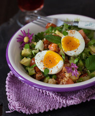Romaine Salad w/Couscous & Soft Boiled Egg
