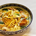 braised pork & shredded bean curd skin with bamboo shoot in clear soup