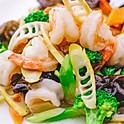 Stir fried prawn & vegetables with ginger & spring onion