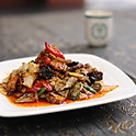 Stir fried sliced pork belly with Sichuan style chili sauce