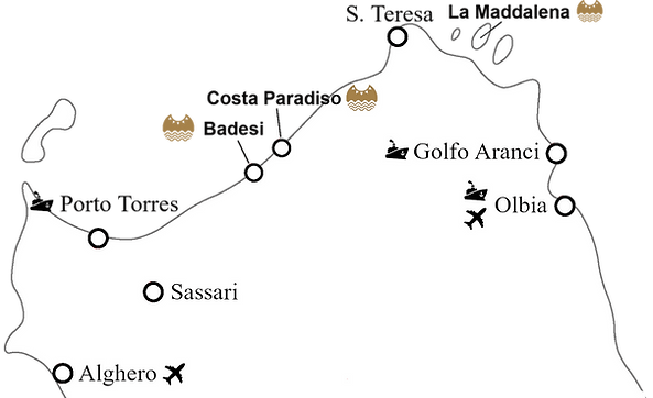 Map of north sardinia apartments