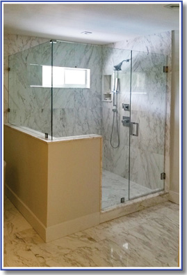 shower enclosure with custom cutout