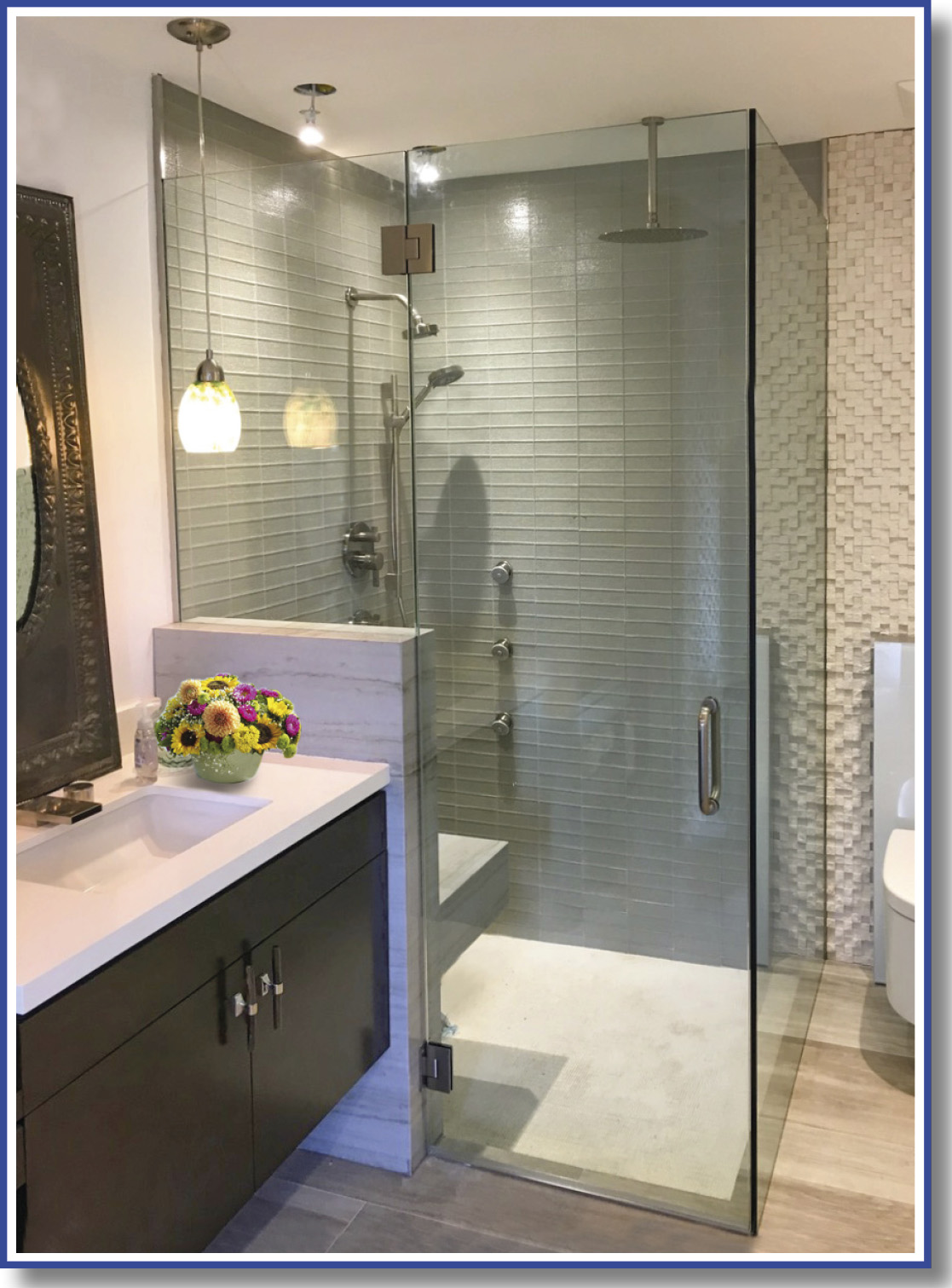 shower door with bench