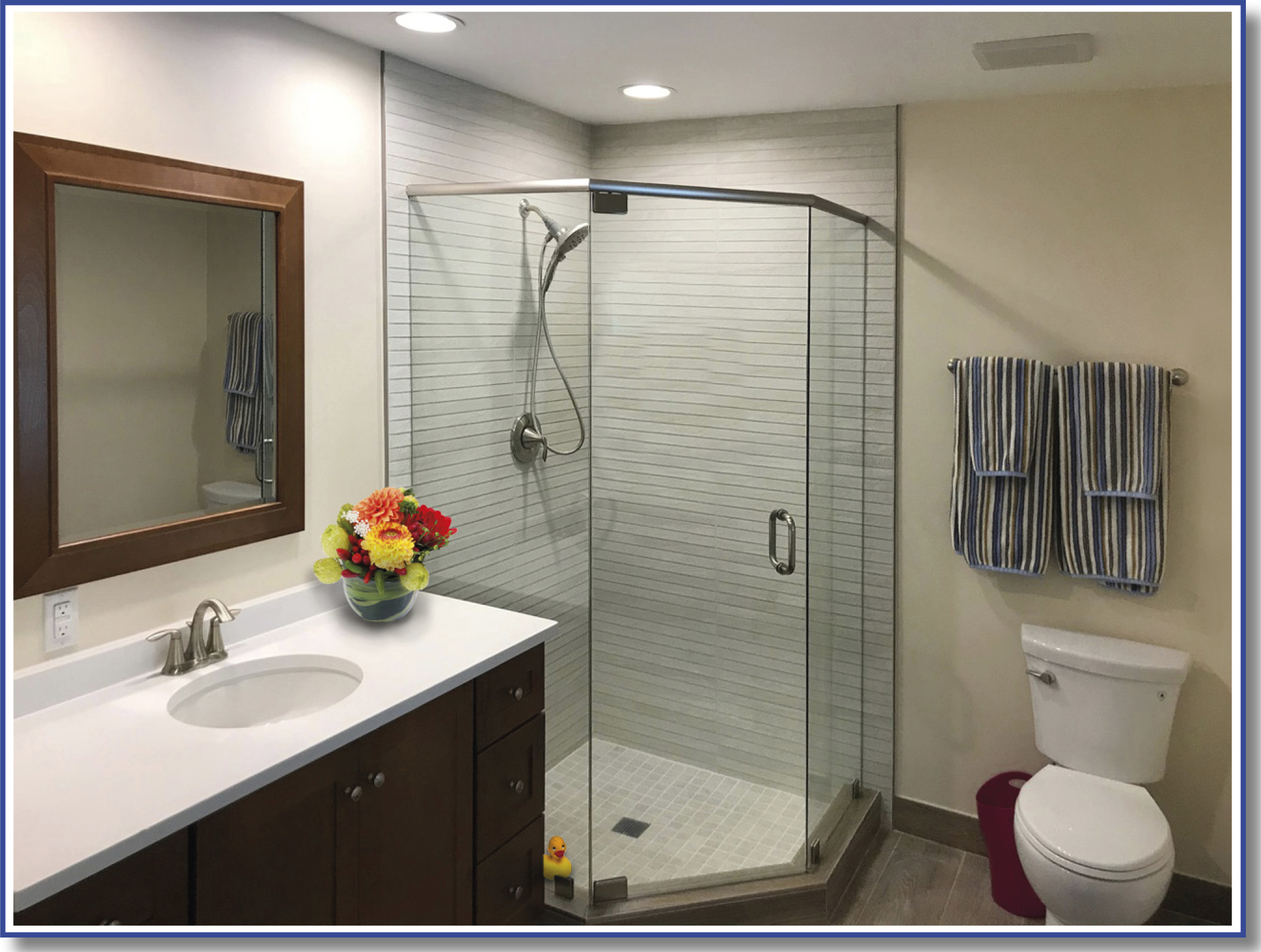 irregular shape shower door glass