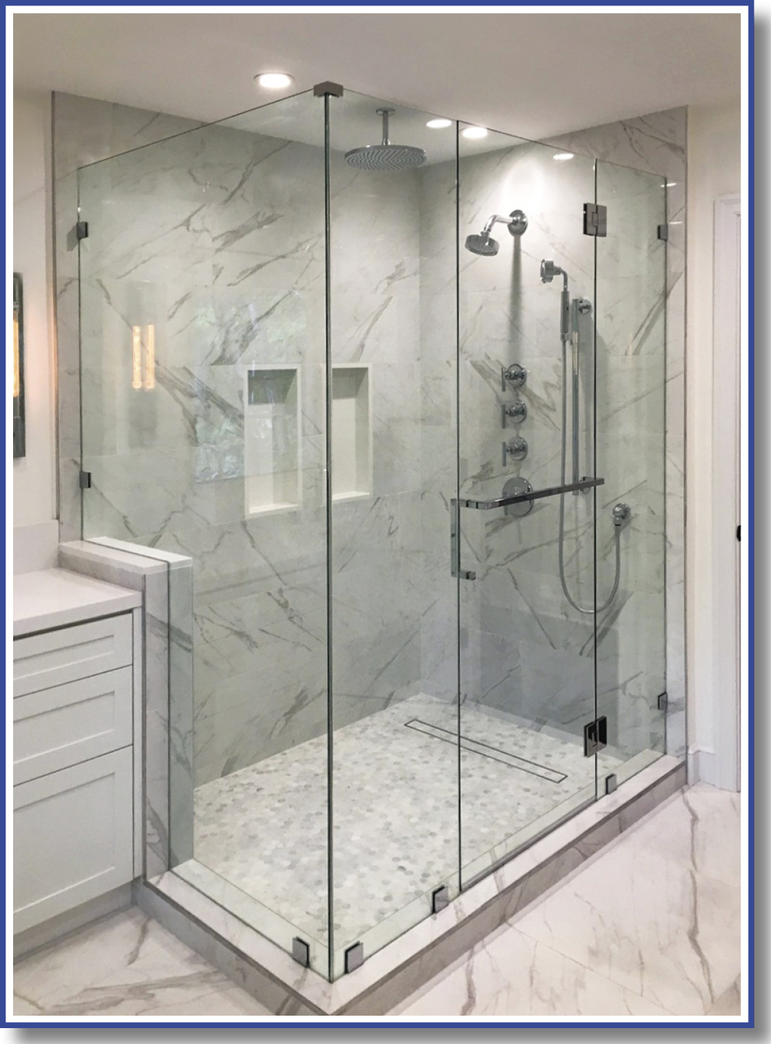 90 degree glass shower with 3 panels