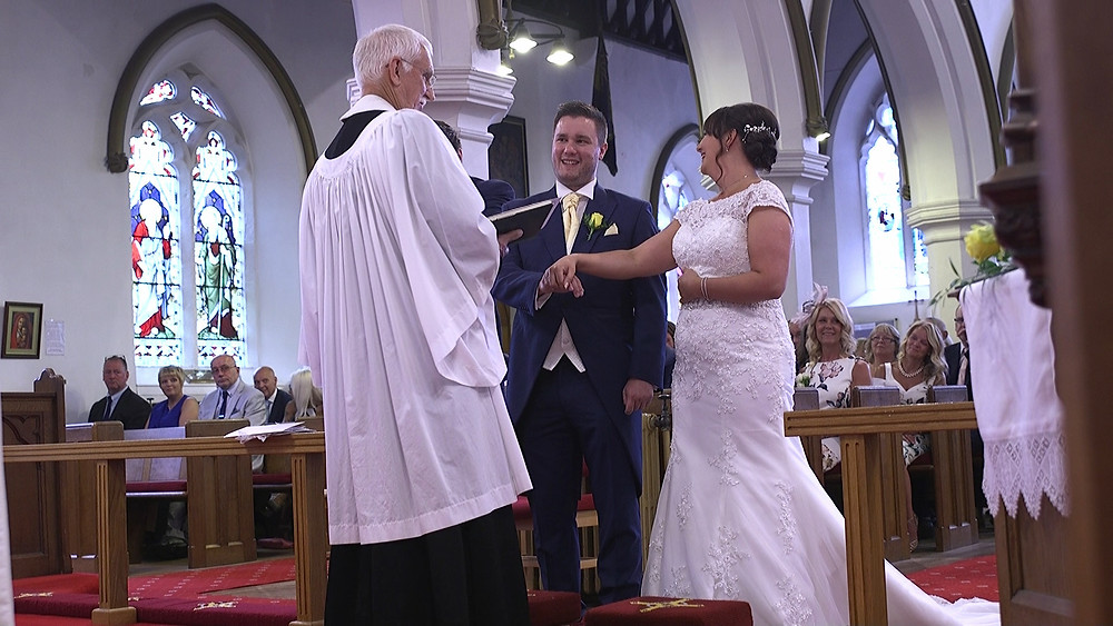Bride and groom vows wedding filmed in church