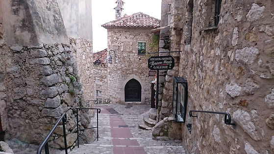 Pebbled stairway, Eze, France