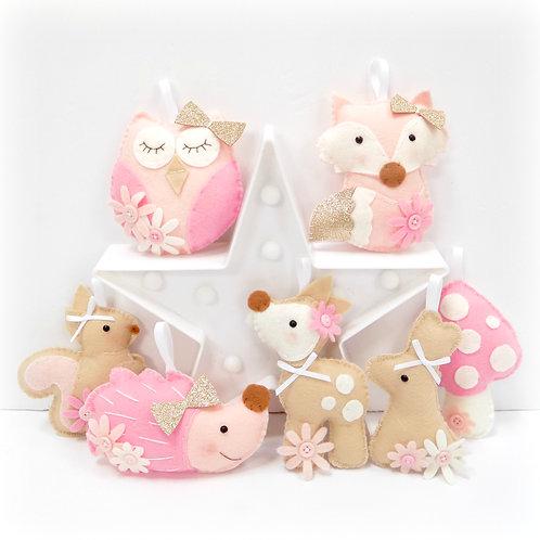 Pink Woodland garland sewing kit