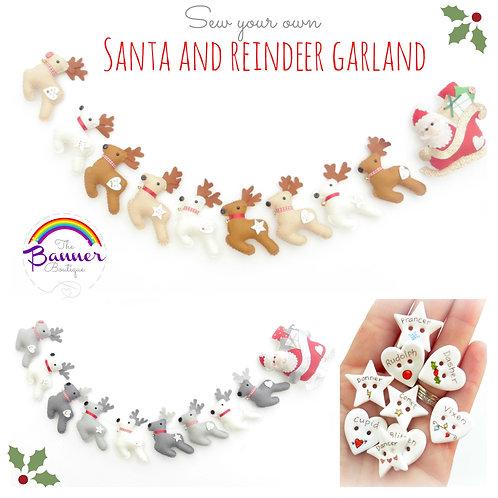 Reindeer and sleigh garland sewing kit