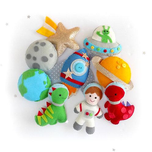 Dinos in Space garland sewing kit