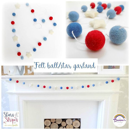 Felt ball/star garland