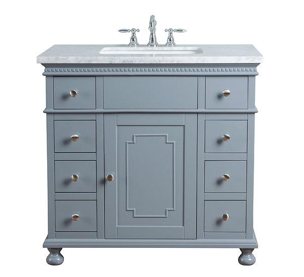 "Abigail Embellished 36"" Grey Single Sink Vanity"