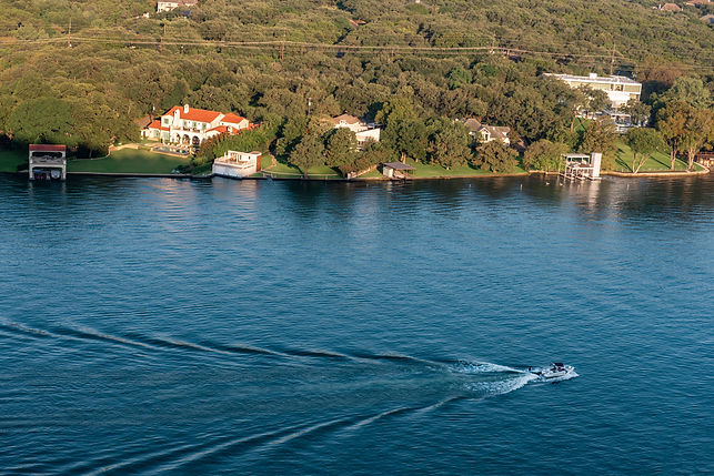Ski Boat on Lake Austin view from Mount